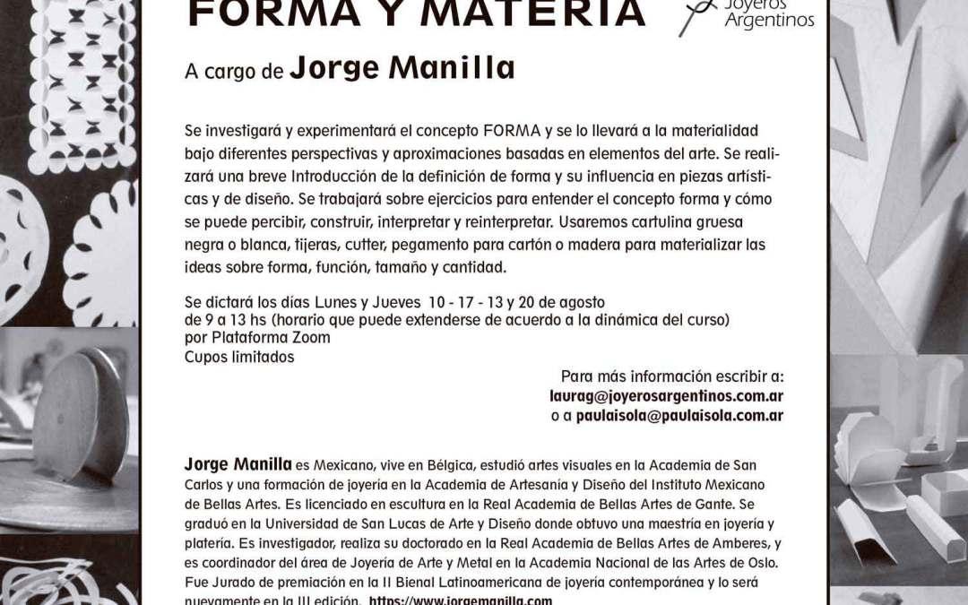 Forma y materia, taller online a cargo de Jorge Manilla