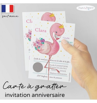 carte a gratter invitation anniversaire flamant rose