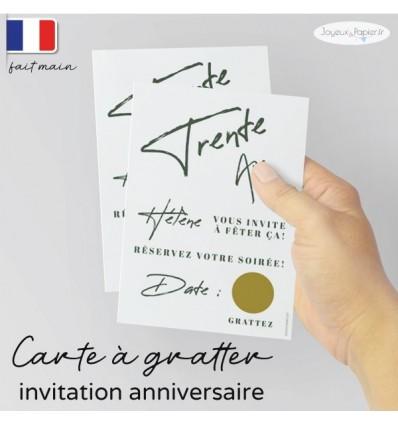carte invitation anniversaire a gratter minimaliste