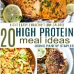 pinterest image for 20 light and easy high protein meal ideas