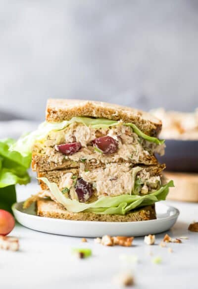classic healthy chicken salad recipe on bread