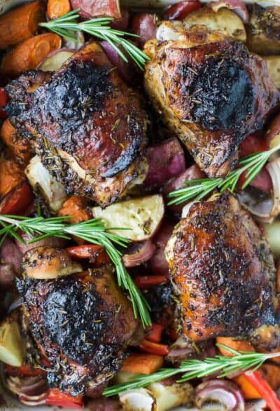 one pan mustard balsamic baked chicken with roasted vegetables