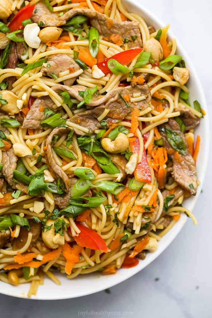 closeup of easy kung pao beef noodles
