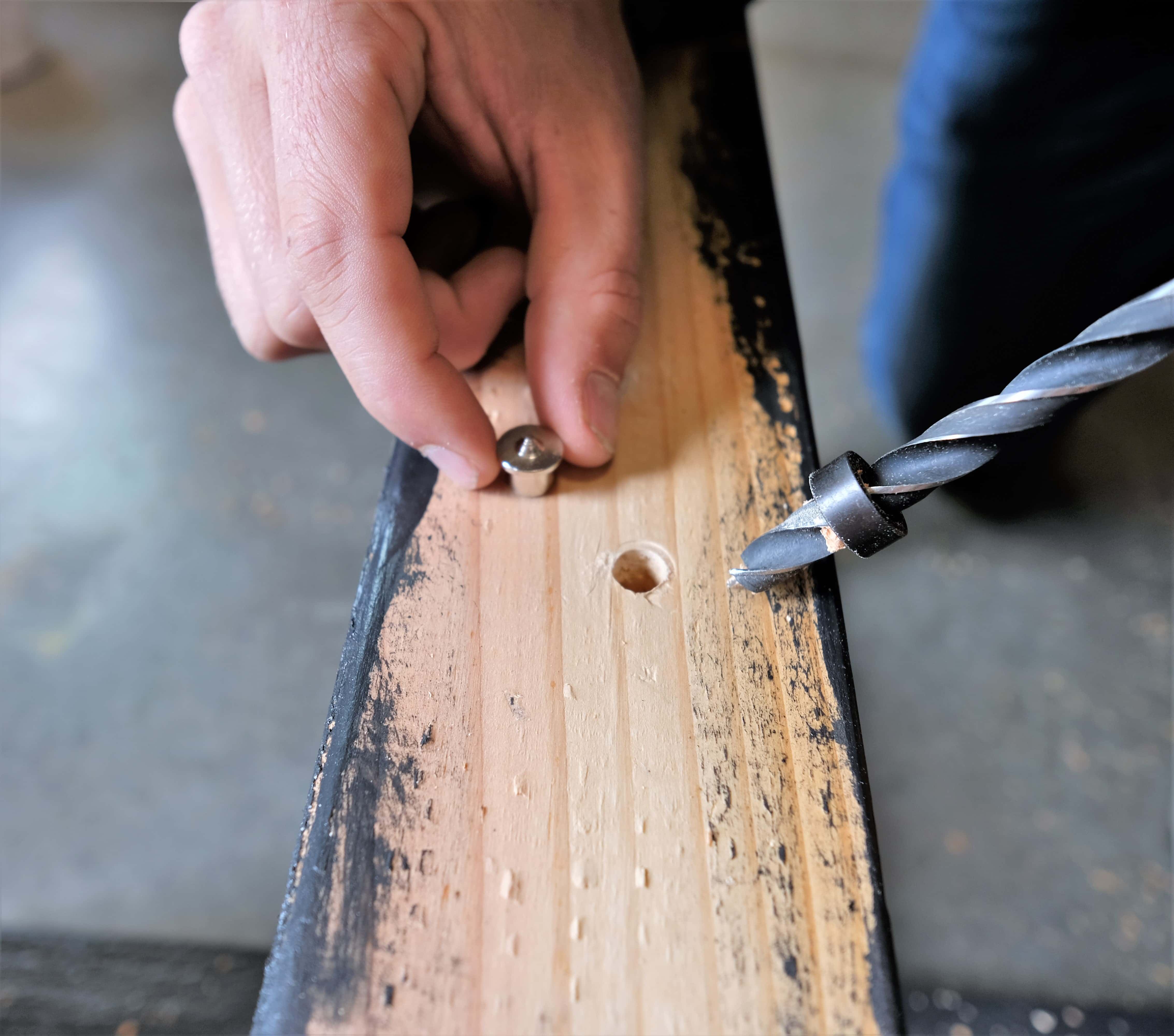 Pre-drilling for dowel on rustic coffee table