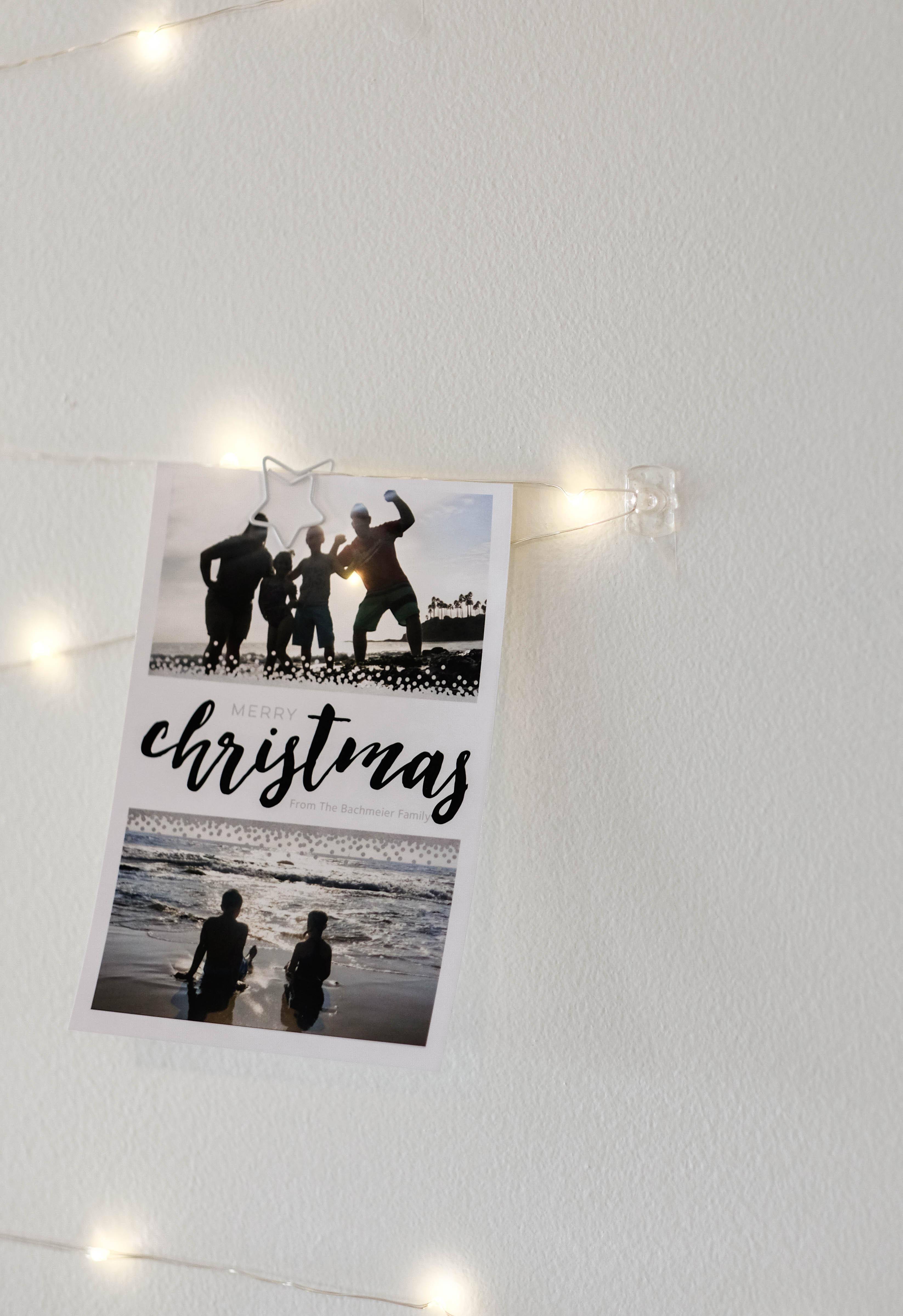 Simple Christmas Decor Ideas - Twinkle Light Card Display