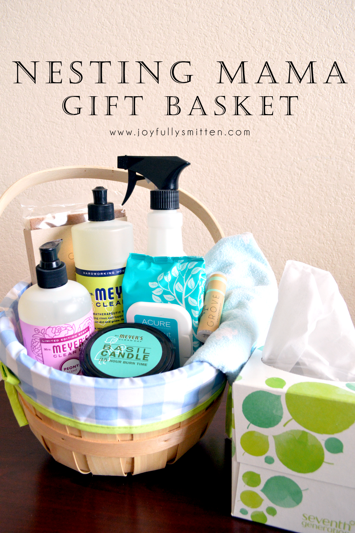 Nesting Gift Basket for Expecting Mothers! A super sweet gesture filled with items for nesting, for her hospital bag and just to make her feel special.