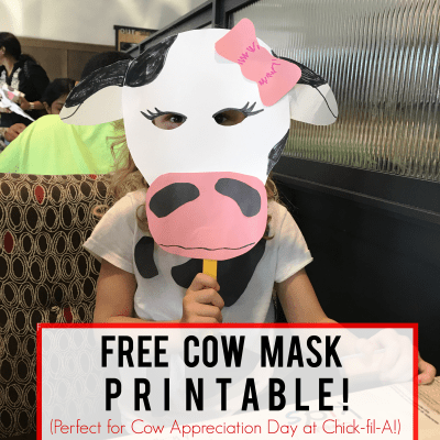 Chick-fil-A Cow Appreciation Day Printable Mask