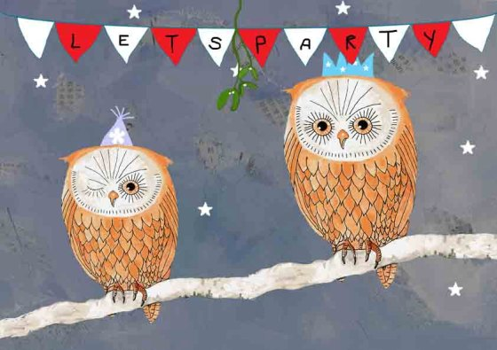 Let's Party Owl Print by Bella Blackbird