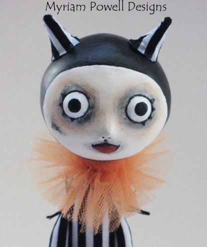 Devil Art Doll- Goth Halloween - Felted Pumpkin- Myriam Powell Designs