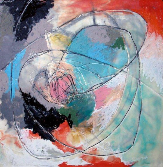Boom Encaustic Art by Ashley Mask