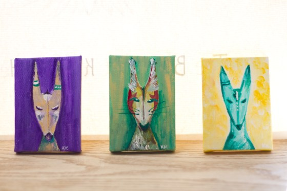 Mini Canvas Creature Paintings, Green, Gold, Purple, Woodland, Grassland, Fox