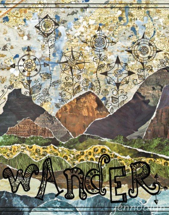 Wanderlust art compass rose - 8 x 10 PRINT travel art mountains poster earthy green blue