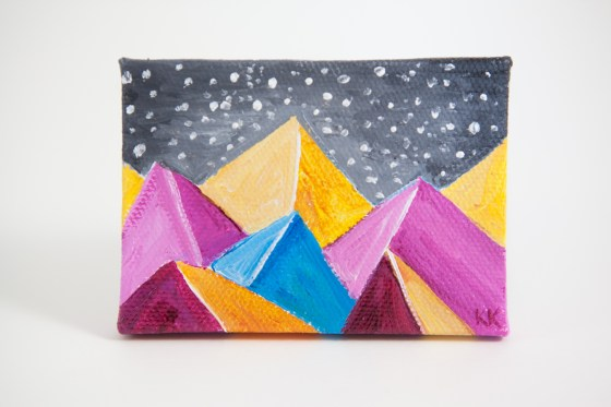 Kimberly Kling Joyful Art Mini Canvas Colorful Pink Yellow Blue Snow Gray Whimsical