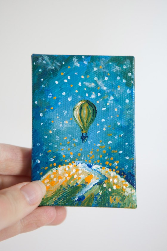 Hot Air Balloon Grass Hill Summer Green Teal Blue Joyful Miniature Painting Mini Canvas - Original Painting by Kimberly Kling