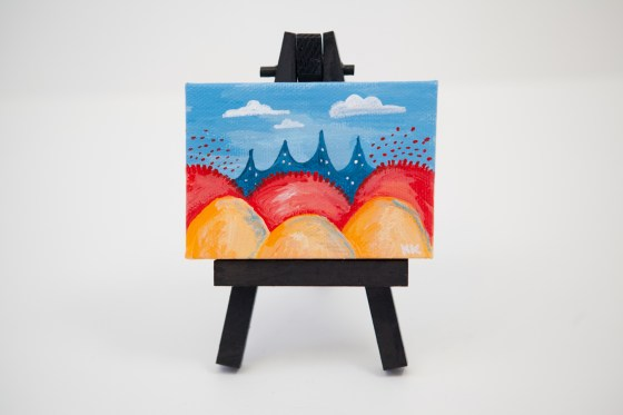 Colorful Fantasy Land Red Orange Yellow Coral Bright Blue Joyful Miniature Painting Mini Canvas - Original Painting by Kimberly Kling