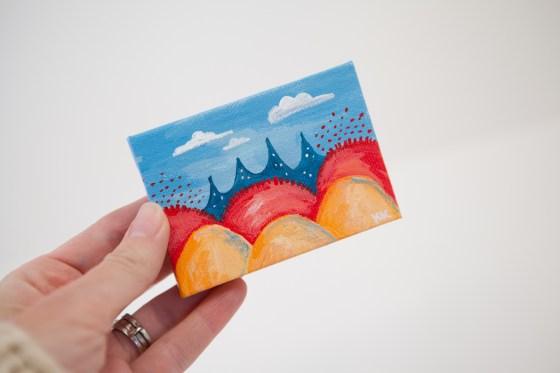 Colorful Fantasy Land Red Orange Yellow Coral Bright Blue Joyful Miniature Painting Mini Canvas - Original Painting by Kimberly Kling
