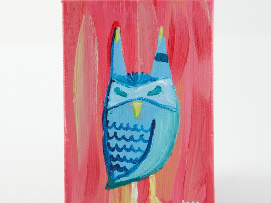Mini Canvas, Owl Totem, Woodland Creature, Turquoise Coral Blue, Animal Illustration Painting - Original Mini Painting by Kimberly Kling