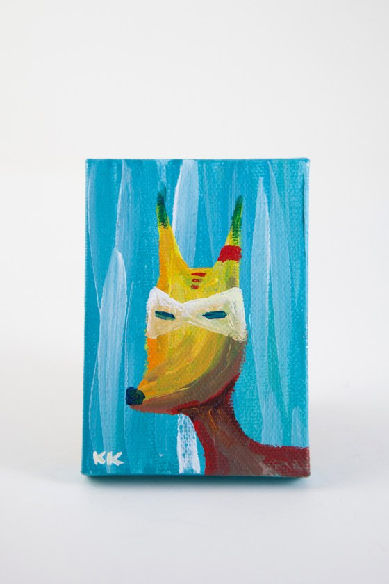 Mini Canvas, Coyote Totem, Woodland Creature, Turquoise Coral Blue, Animal Illustration Painting - Original Mini Painting by Kimberly Kling