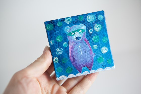 Colorful Bear Totem, Miniature Painting, Whimsical Small Art, Children's Animal Character, Blue - Original Mini Painting by Kimberly Kling