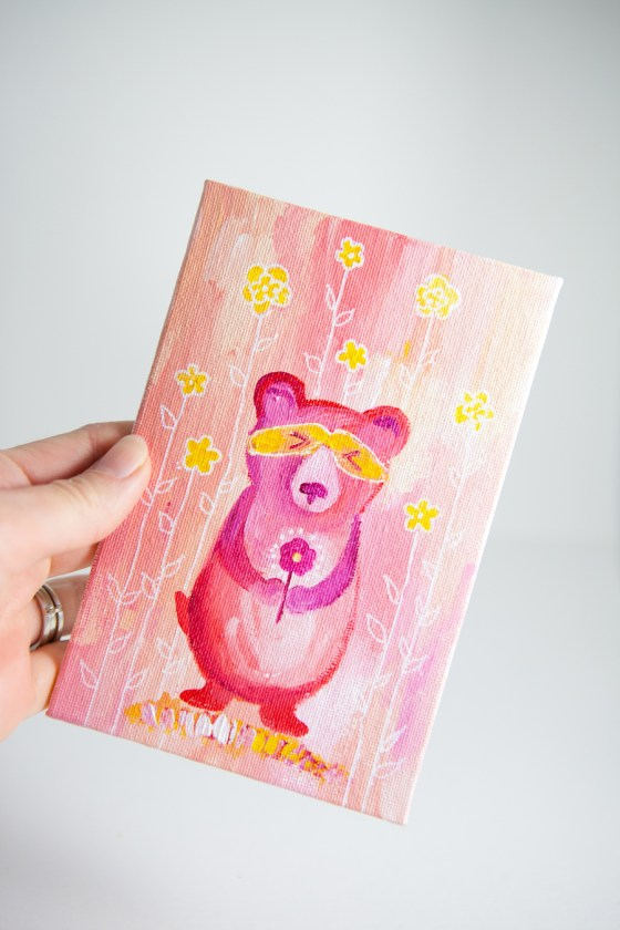 Pink Bear Totem, Miniature Painting, Whimsical Small Art, Children's Animal Character, Girl - Original Mini Painting by Kimberly Kling