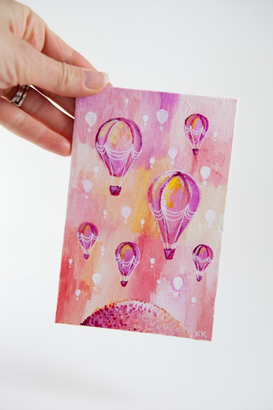 Pink Hot Air Balloons, Old Fashioned, Miniature Painting, Whimsical Art, Small, Tiny - Original Mini Painting by Kimberly Kling