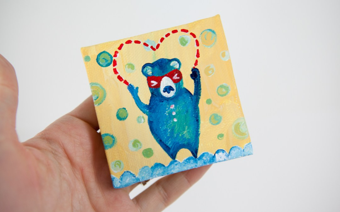 Bear Valentine Art, Miniature Painting, Whimsical Small Art, Red Heart, Yellow and Blue - Original Mini Painting by Kimberly Kling