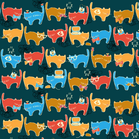 Geek Chic Cats Pattern By Kimberly Kling