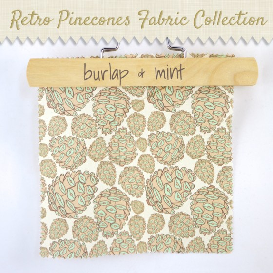 burlap mint retro pinecones pinecones woodland nature spoonflower wallpaper wrapping paper