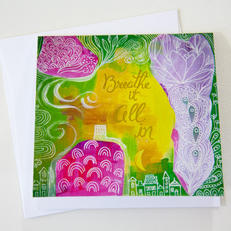 Breathe It All In Recycled Greeting Card Blank Inspirational Art