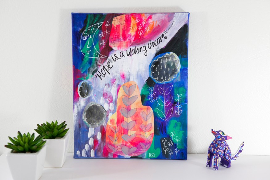 Hope Is A Waking Dream Mixed Media Art Hipster Trendy Room Decor Neon Pink