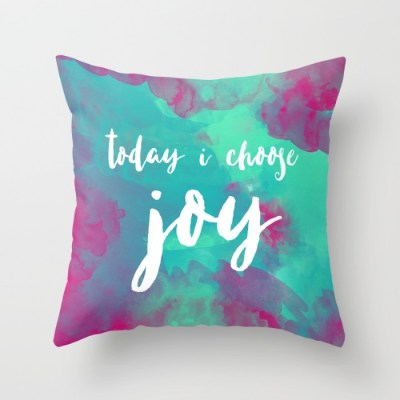 "Each and every day, you have the power to choose joy, and now you can be reminded with this colorful watercolor quote pillow. To create the design, I used a special technique I developed that combines my original watercolors with my digital work and have the design printed onto USA made pillow covers. DETAILS ♥ This listing is for one 18""x18"" pillow cover. ♥ These throw pillows are 100% made - cut, sewn and printed - in California."