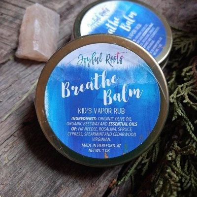 Kids Breath Balm Natural Vapor Rub Essential Oils Cypress, Fir, Cedarwood