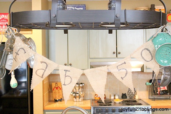 50th Birthday burlap pendant banner