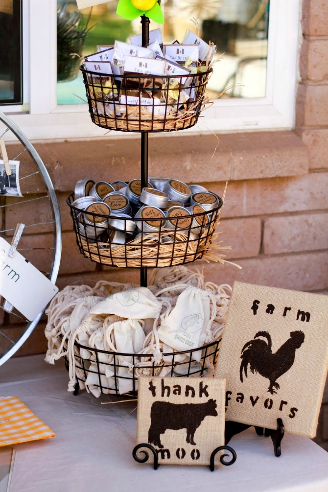 farm wedding favor table