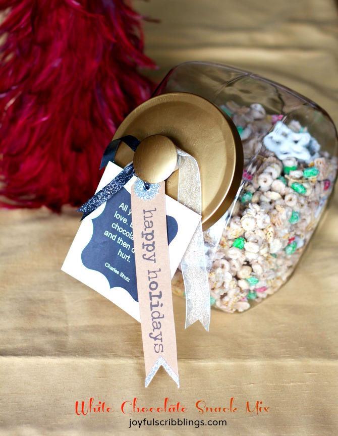 white chocolate snack mix-gift in a jar