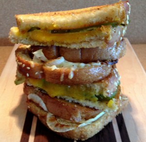 His and Hers Grilled Cheese...his with pickles an hers with roasted onion