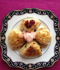 My creamy scones are served with strawberry butter instead of the traditional clotted cream.