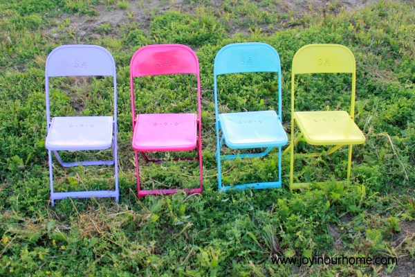 Fun and Colourful Metal Chair Makeover by Joy In Our Home  www.joyinourhome.com