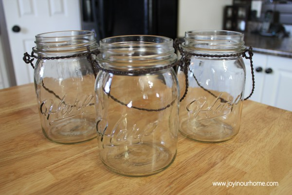 Fall Mason Jar Candle Holders at www.joyinourhome.com Simple Tutorial!