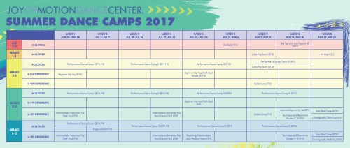 Visual Camp Schedule for Summer Dance Camps 2017