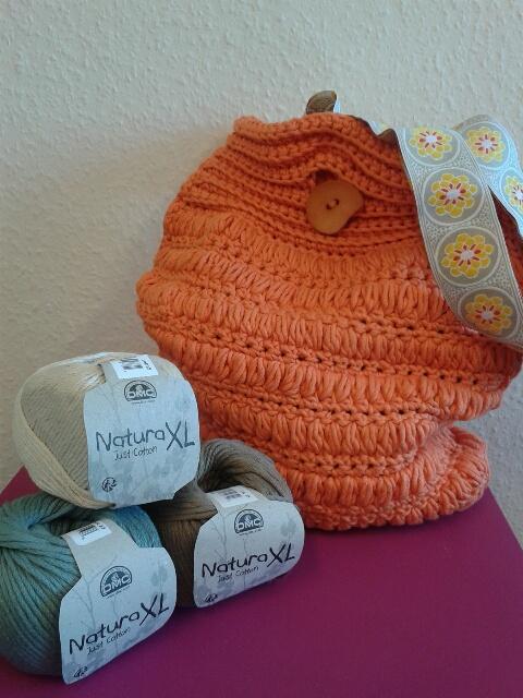 crochet bag pouff stitch natura xl just cotton