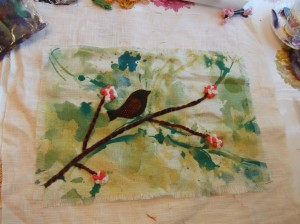 creative textiles workshop bird collage