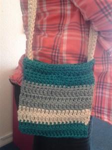 Stripy crochet bag natura xl