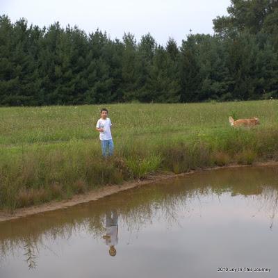 boy and dog near a pond