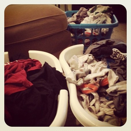 clean unfolded laundry