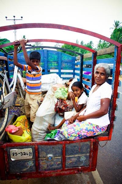 family in truck in Sri Lanka