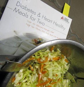 Photo of slaw and cookbook