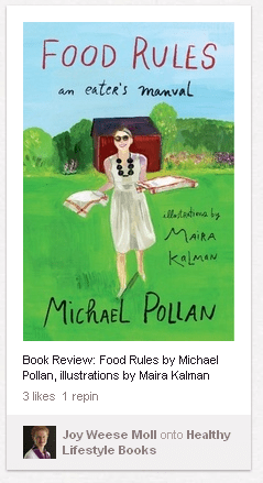 Image of Pin from Pinterest featuring Food Rules by Michael Pollan book
