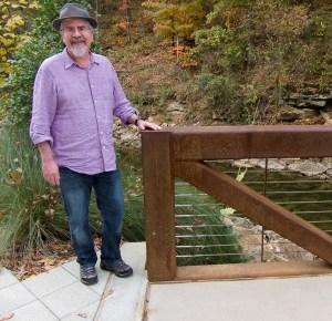 Rick and bridge at Crystal Bridges Museum of American Art