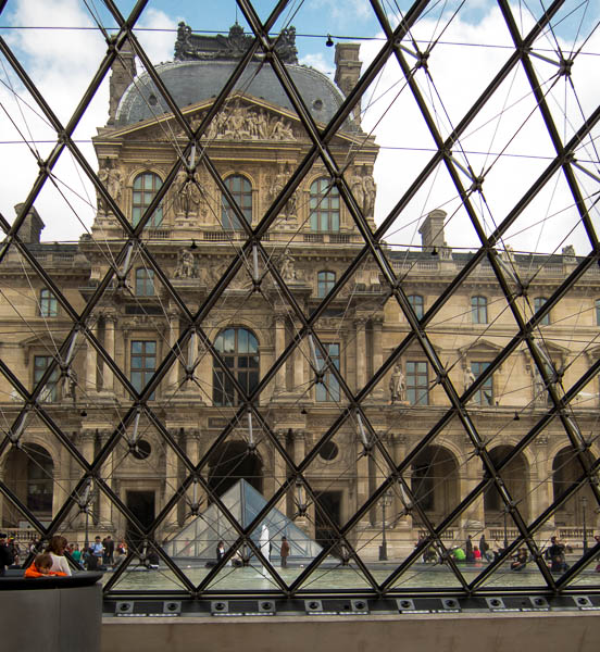 photo of the Louvre from inside I.M. Pei's pyramid